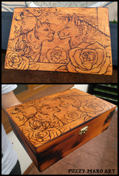 Lovely couple-Pyrography box by FuzzyMaro