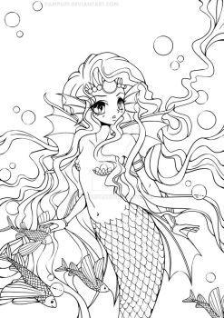 Mermaid Princess Lineart by YamPuff