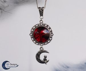 Cat on the Moon Fantasy Necklace by Nyjama