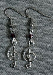 Silver and Purple Treble Clef Earrings by craftymama