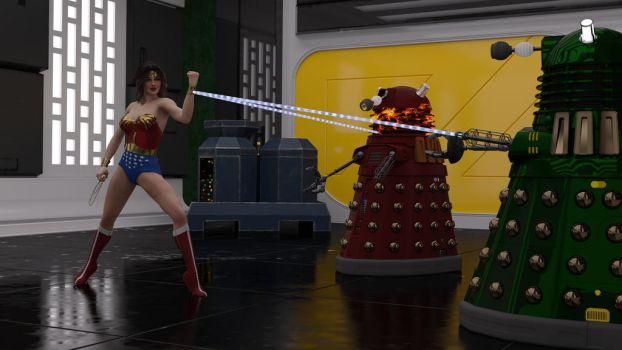 Wonder Woman vs Daleks by reedsabc