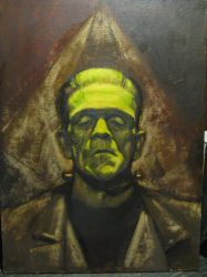 Frankenstein Boris Karloff 18 by 24 oil paintng by loubaker92164