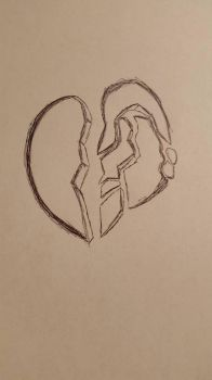 Inktober Day 2: Divided (Shattered Heart) by SilverArrowz