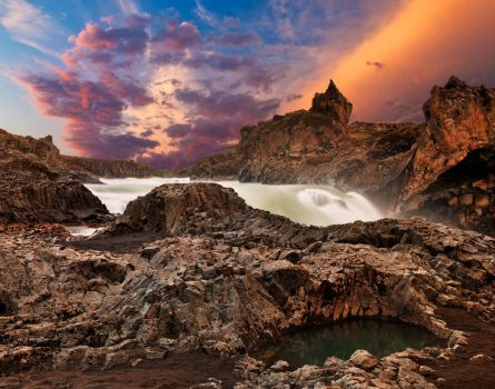 Godafoss Sunset Fury by somadjinn
