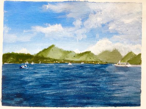 Painting - I Like Lake Mountains by ProfessionalPuppy