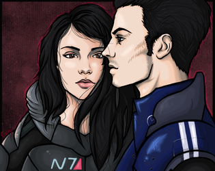 Shepard and Kaidan. by Cayran