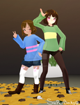 MMD Frisk and Chara by SuperBecky