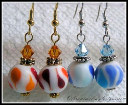 Multi-Color Glass Earrings in Blue and Orange by vibrantmelodydesigns