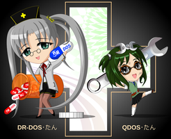 chibi DR-DOS-tan and QDOS-tan by C-quel