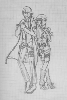 Alfonse and Alfreya (secret agents AU) by CreamPurin
