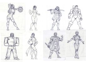 WCL Rebirth Character Sketches by Dualmask