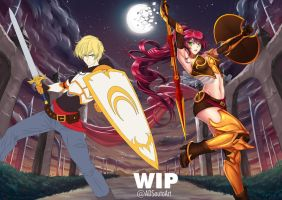 WIP Jaune and Pyrrha by ADSouto