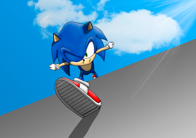 Sonic makes his appeareance! 2014 by Sonikkudrawings