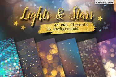 Lights and Stars Clipart + bonus (Backgrounds) by MixPixBox