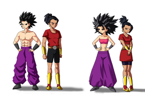 Universe 6 female saiyans with their male version by Lordeblader