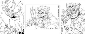 Wolverine sketch card rough pencils by CharlesEttinger
