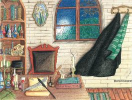 Severus Snape desk (colored version) by AmyNovacaine