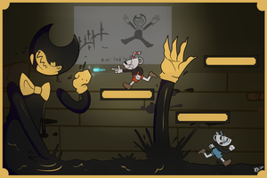 Cuphead vs. Bendy and the ink machine by X1Kisho