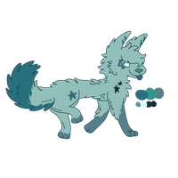 Blue wolf adopt auction by SketchedSerenity