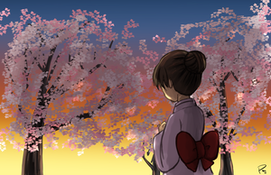 Cherry Blossom Sunset by Exekiella