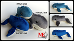 Whale Plushies in Blue and Gray by MayEsdot
