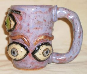 Pink Eye Cup With Eyebrows by aberrantceramics