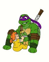 TMNT: Donnie and Baby April by xero87