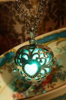 Teal Glowing Heart  Pendant by CatherinetteRings
