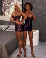 Emma and Celeste - Glamour Party Night 002 by Cosmics-3D-Angels