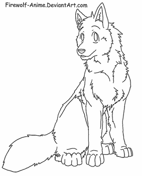 Wolf Sit Lineart by Firewolf-Anime