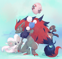[Day 27 and 28] Zoroark and Cinccino by PinkGermy