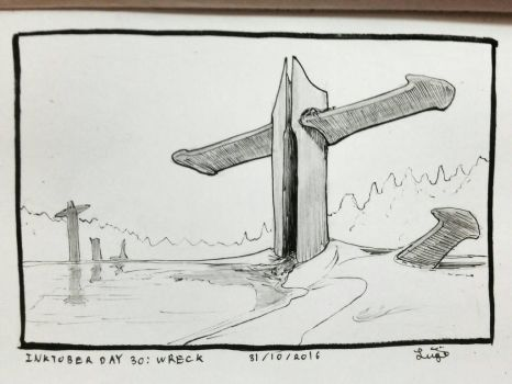 inktober Day 30: wreck by Iklungs