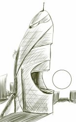 Daily Sketch: The Building That Wants To Eat The S by Hunchy