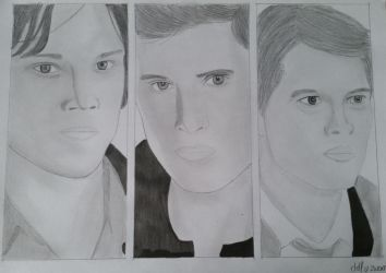 Sam, Dean and Castiel drawing by Dees4life