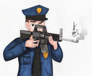Policeman with assault rifle by MatthewGo707