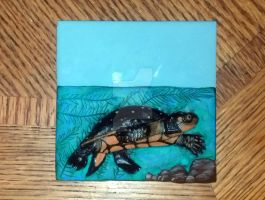 Spotted turtle relief tile by LandGart