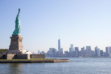Miss Liberty and Financial District by Simounet