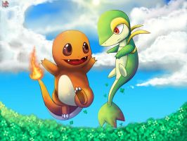 Charmander and Tsutaaja by Pand-ASS