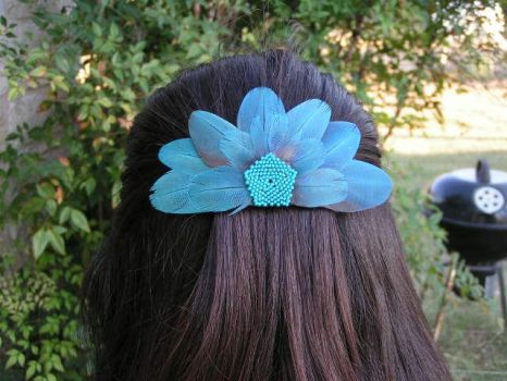 Feather Barrette Blue by To-Delicate-Designs