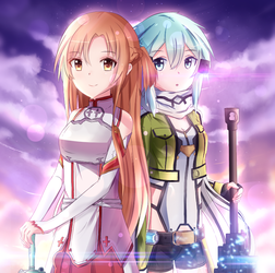 Asuna and Sinon by nyaakyun