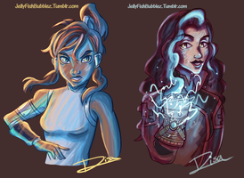 Korra and Asami Colour Experiment by Jellyfishbubblez