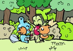 Pokemon Mudkip, Treeko, and Torchic Colored by mcmurp
