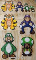 Super Best Friends Mario Farce 64 Perler Bead Art by kamikazekeeg