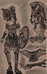 Athena and Sacred Owl Pen/Ink Cardboard by Deorse