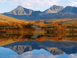 Reflection of Rondslottet mountains by Morgan-Lou