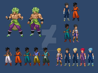 Broly Uub Cabba - The Prodigies (extreme butoden) by DivineSprites