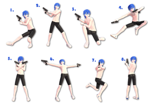 [MMD] Gun Pose Pack - DL by Snorlaxin