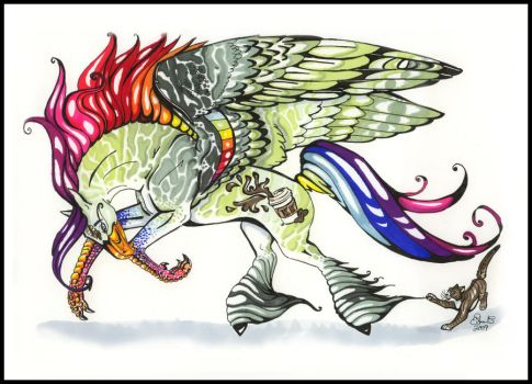 Fullbody Rainbow Hippogriff ID by koffeekeg
