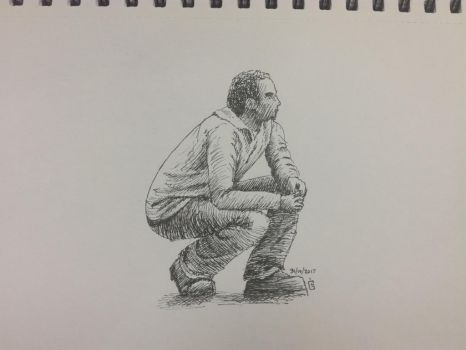 Inktober 2017, Day 21: man crouching by GLangGould