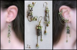 Voices of nightingales-2 ear cuff and earrings by JuliaKotreJewelry